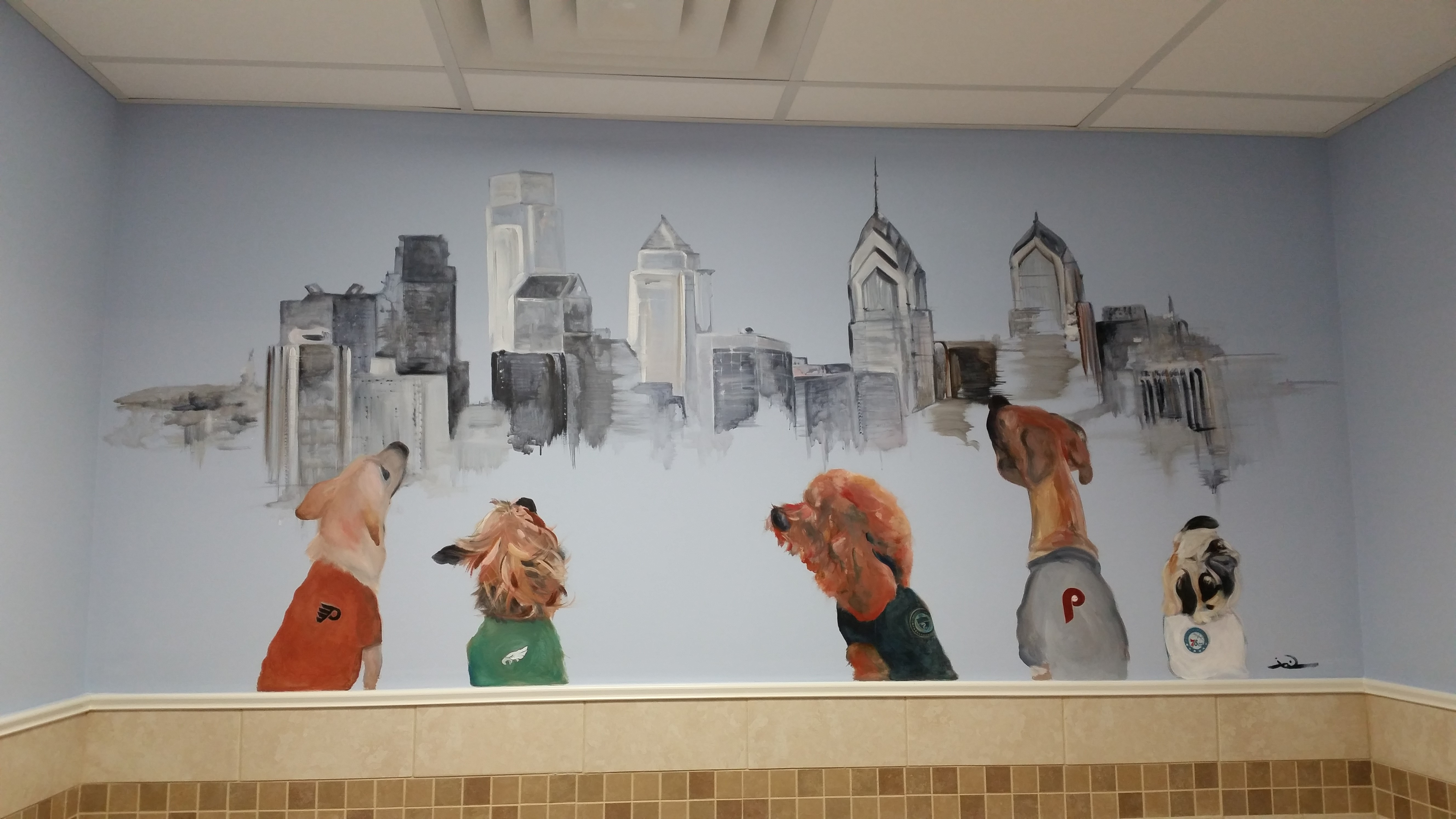 Skyline Mural for K9 Resorts; Executive Suites in Horsham, PA